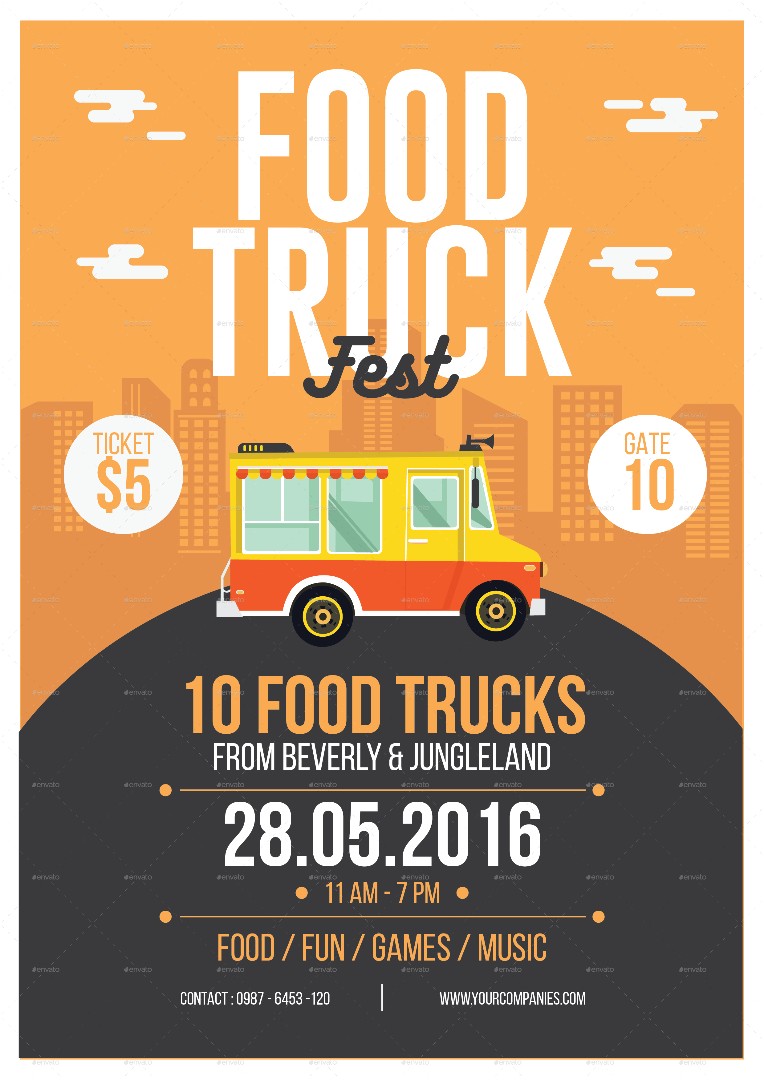 Food Truck Flyer By Tokosatsu GraphicRiver - Food truck flyer template