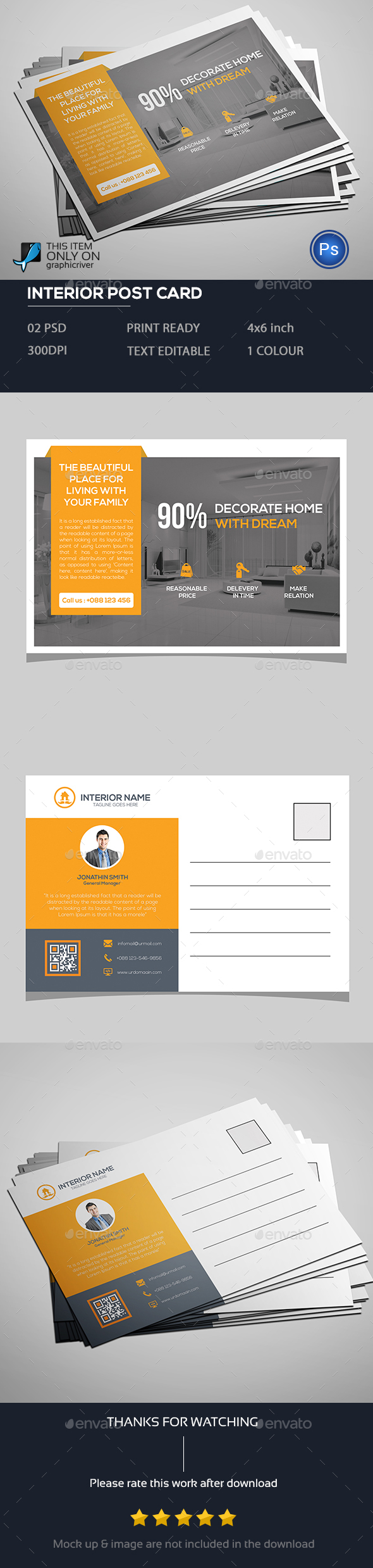 Interior Post Card - Cards & Invites Print Templates