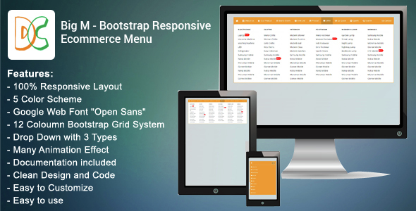 Big M - Bootstrap Responsive Ecommerce Menu - CodeCanyon Item for Sale