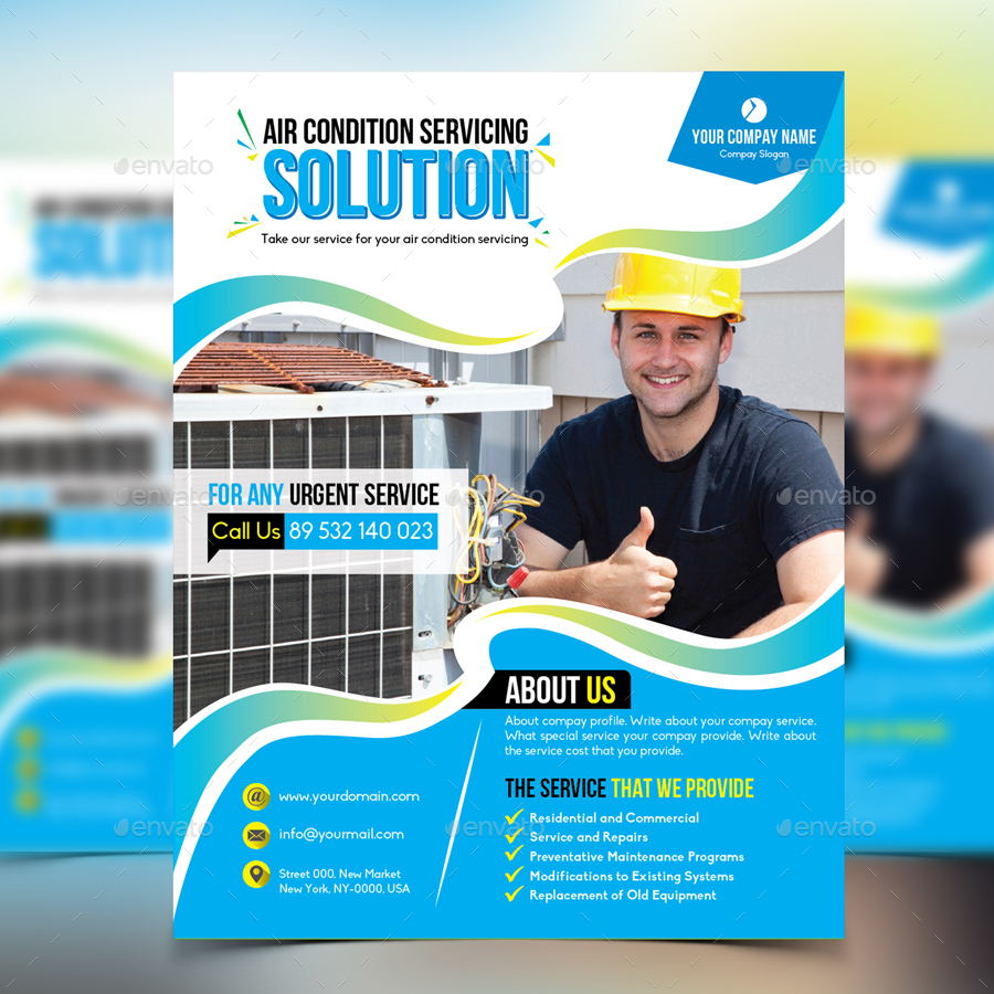 Air Condition Servicing Flyer By Design Station Graphicriver