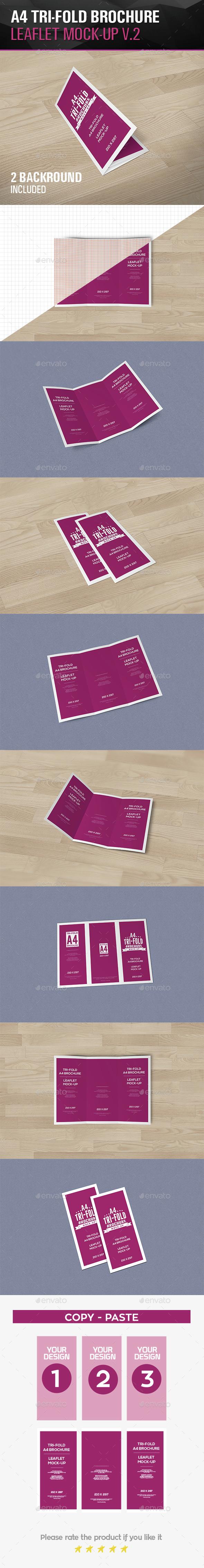 Tri-Fold Leaflet A4 brochure Mockups V.2 - Brochures Print
