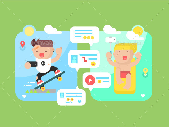 Communication Technology Concept Flat - People Characters