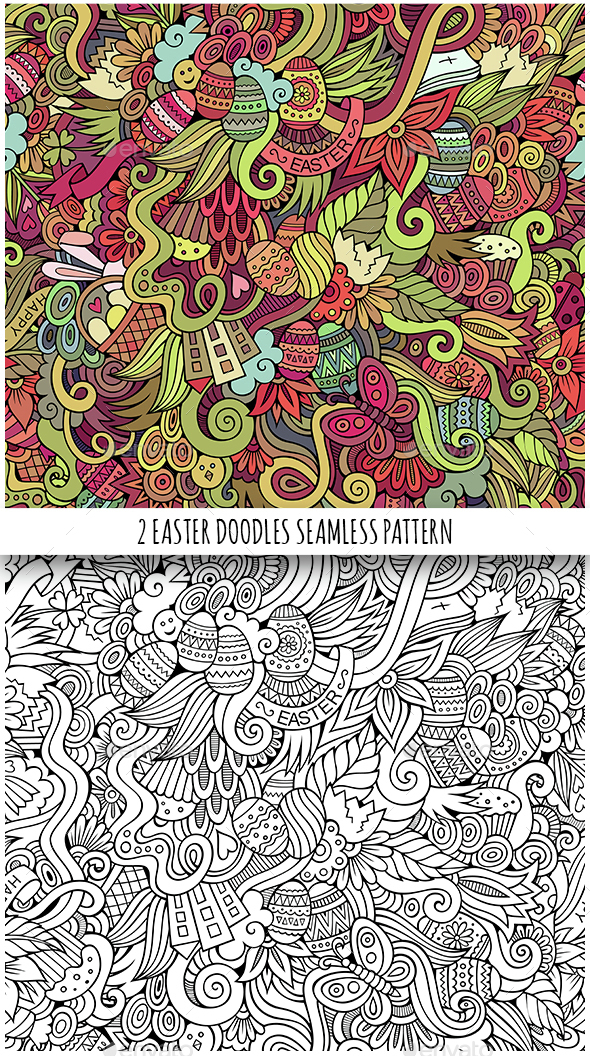 2 Easter Doodles Seamless Pattern - Seasons/Holidays Conceptual