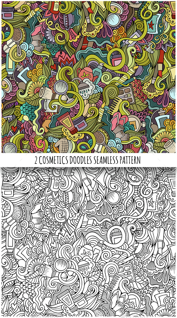 Beauty and Cosmetics Doodles Seamless Patterns - Health/Medicine Conceptual