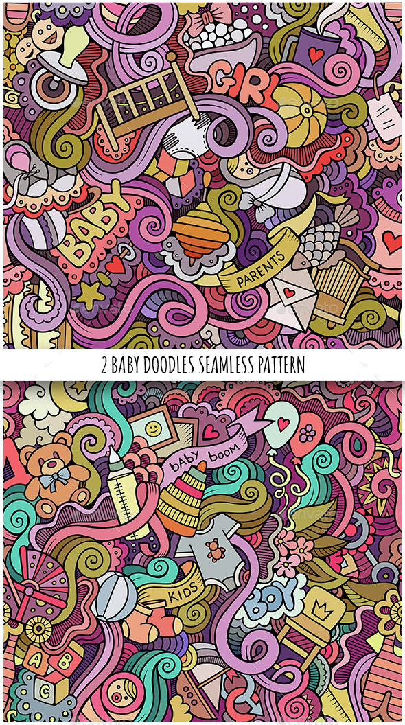 2 Baby Doodles Seamless Patterns - People Characters