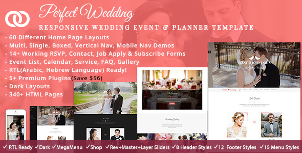 Perfect Wedding - Responsive Wedding Event & Planner Bootstrap Template - Wedding Site Templates