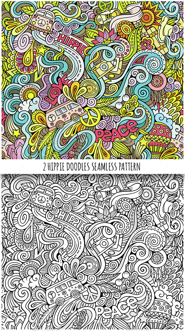 2 Hippie Doodles Seamless Patterns - Backgrounds Decorative