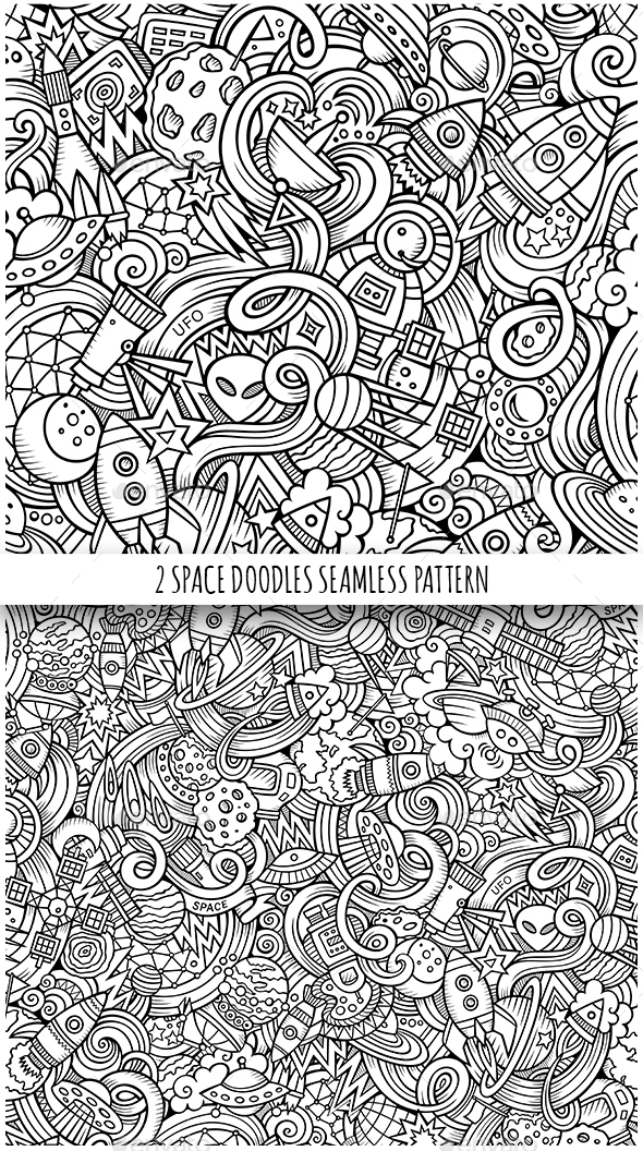 2 Space Doodles Seamless Patterns - Communications Technology