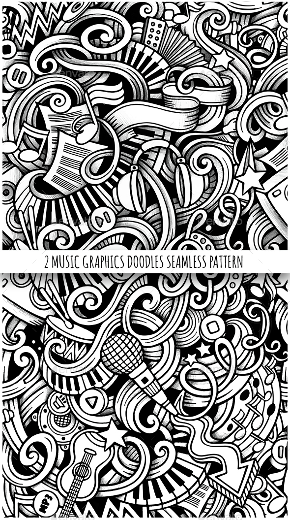 2 Doodles Graphics Music Seamless Pattern - Media Technology