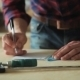 Man Draws The Drawing With a Ruler - VideoHive Item for Sale