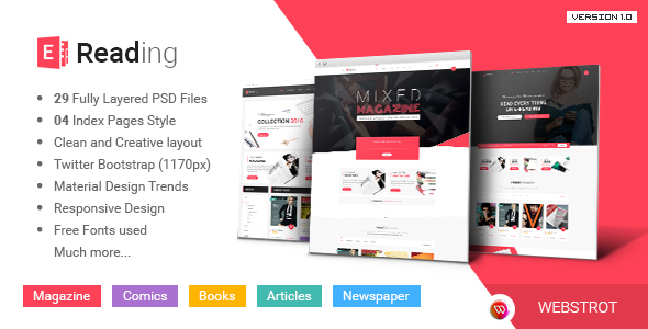 E-Reading Magazines Library eCommerce PSD Theme