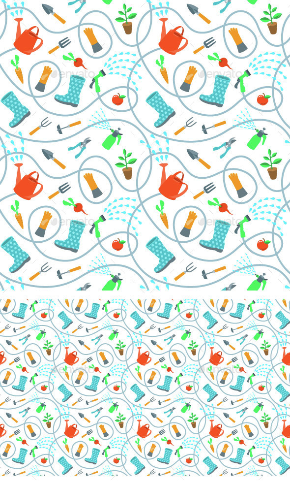 Gardening Tools and Fruits Flat Seamless Pattern - Patterns Decorative