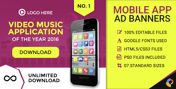 GWD Mobile App HTML Ad Banner Sizes By Themesloud CodeCanyon - Video ad templates