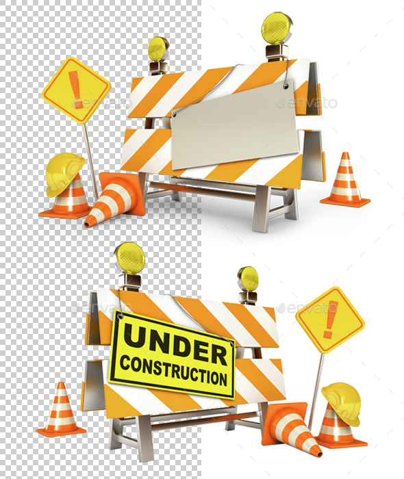 Under Construction Barrier - Objects 3D Renders