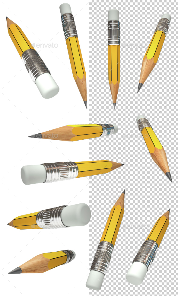 Set Pencil - Objects 3D Renders