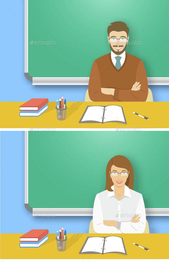 School Teacher at a Table in a Class  - People Characters