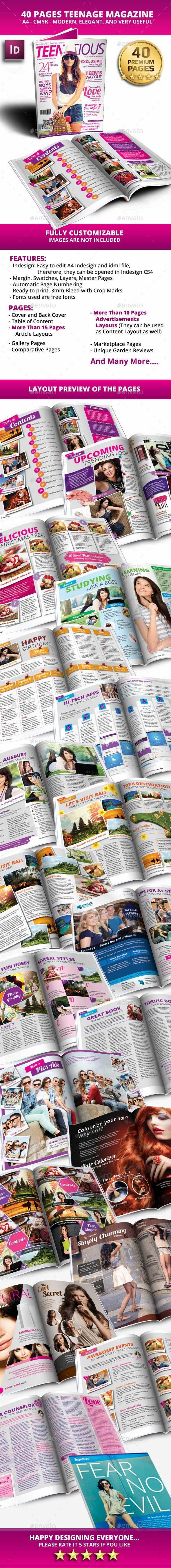 40 Pages A4 Teens Magazine - Magazines Print Templates