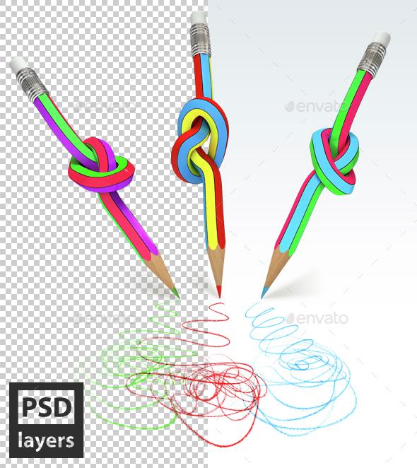 Pencils do Doodle - Objects 3D Renders