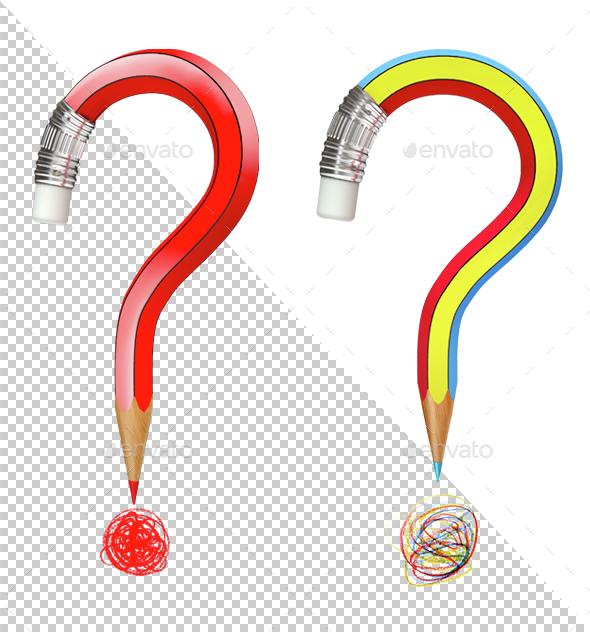 Pencil Bent like a Question Mark - Miscellaneous 3D Renders