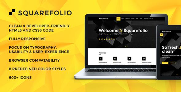 Squarefolio Multipurpose HTML Template - Corporate Site Templates