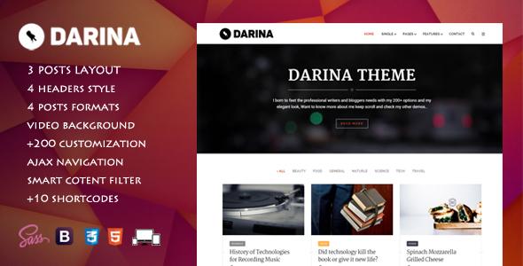Darina - Elegant Minimal Blog Theme - Personal Blog / Magazine