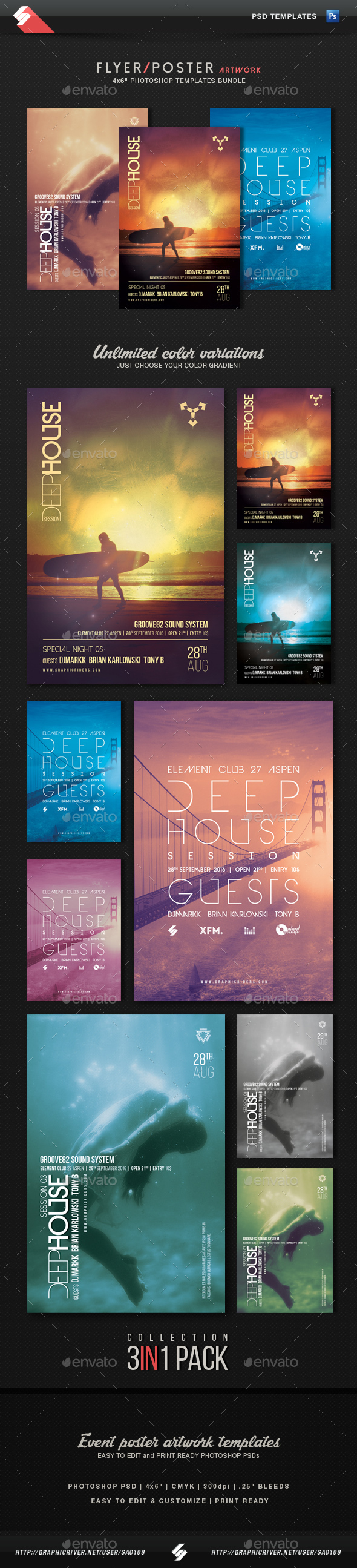 Deep House Collection 2 - Party Flyer Templates Bundle - Clubs & Parties Events
