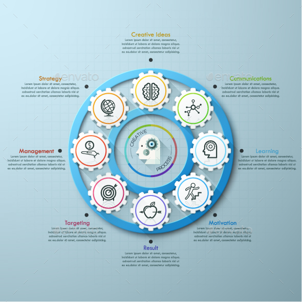 Infographic Template With Connected Gears - Infographics