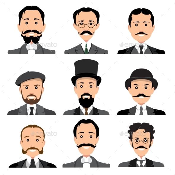 Vintage Gentleman Portrait Set. - People Characters