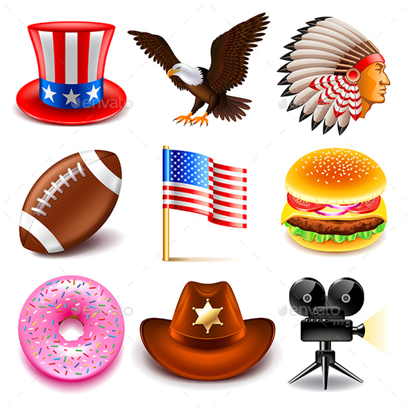 USA Icons Set - Travel Conceptual