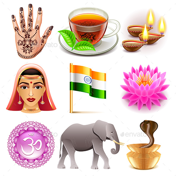 India Icons Set - Travel Conceptual