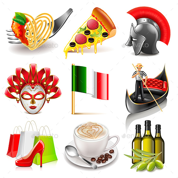 Italy Icons Set - Travel Conceptual