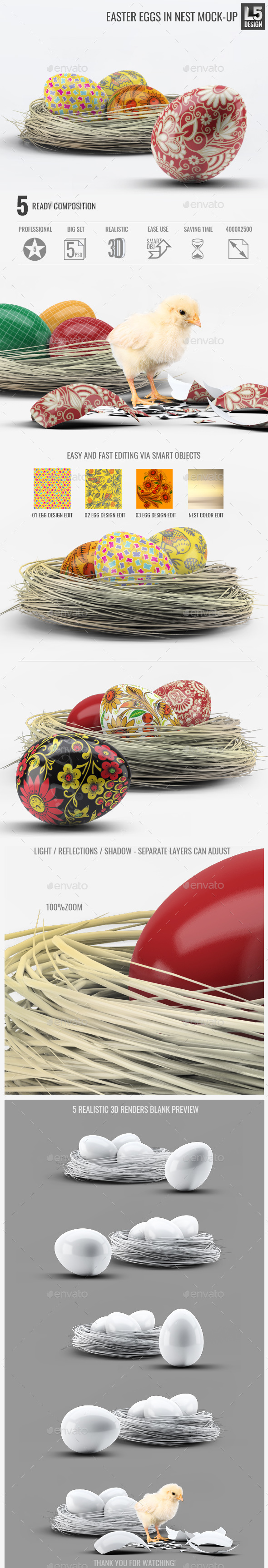 Easter Eggs in Nest Mock-Up - Miscellaneous Product Mock-Ups