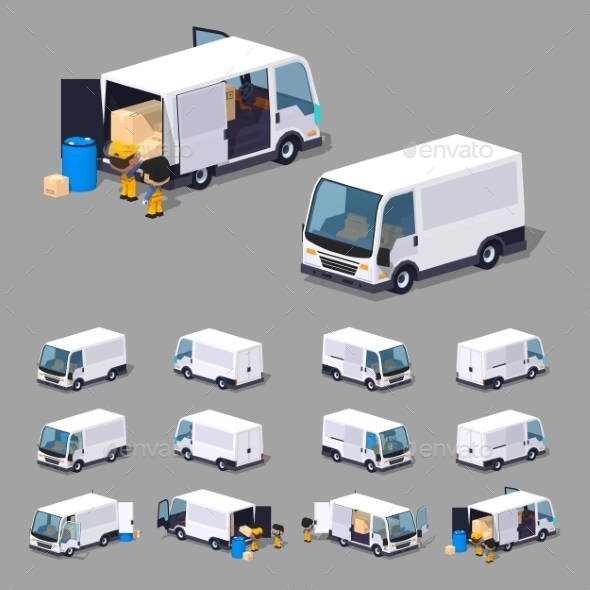 Low Poly White Van - Man-made Objects Objects