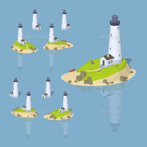 Low Poly White Lighthouse - Buildings Objects