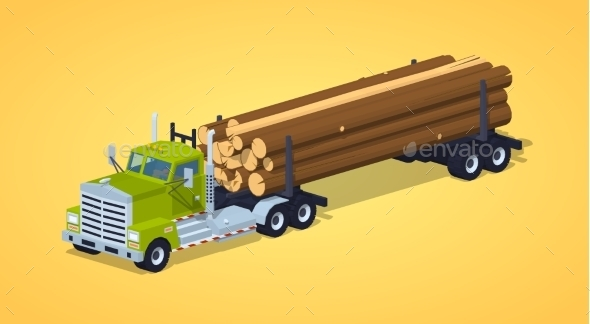 Low Poly Log Truck - Man-made Objects Objects