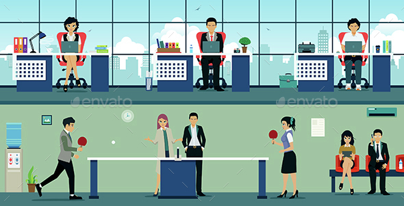 Table Tennis at Work - Backgrounds Business