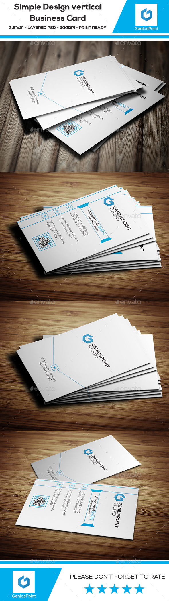 Simple Design Vertical Business Card - Business Cards Print Templates