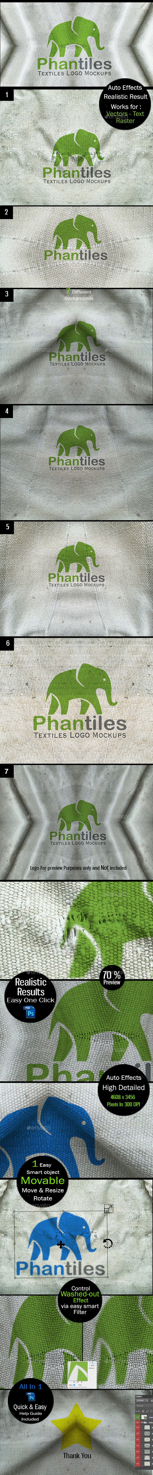 Logo Mockup Set - Vintage Fabrics - Logo Product Mock-Ups