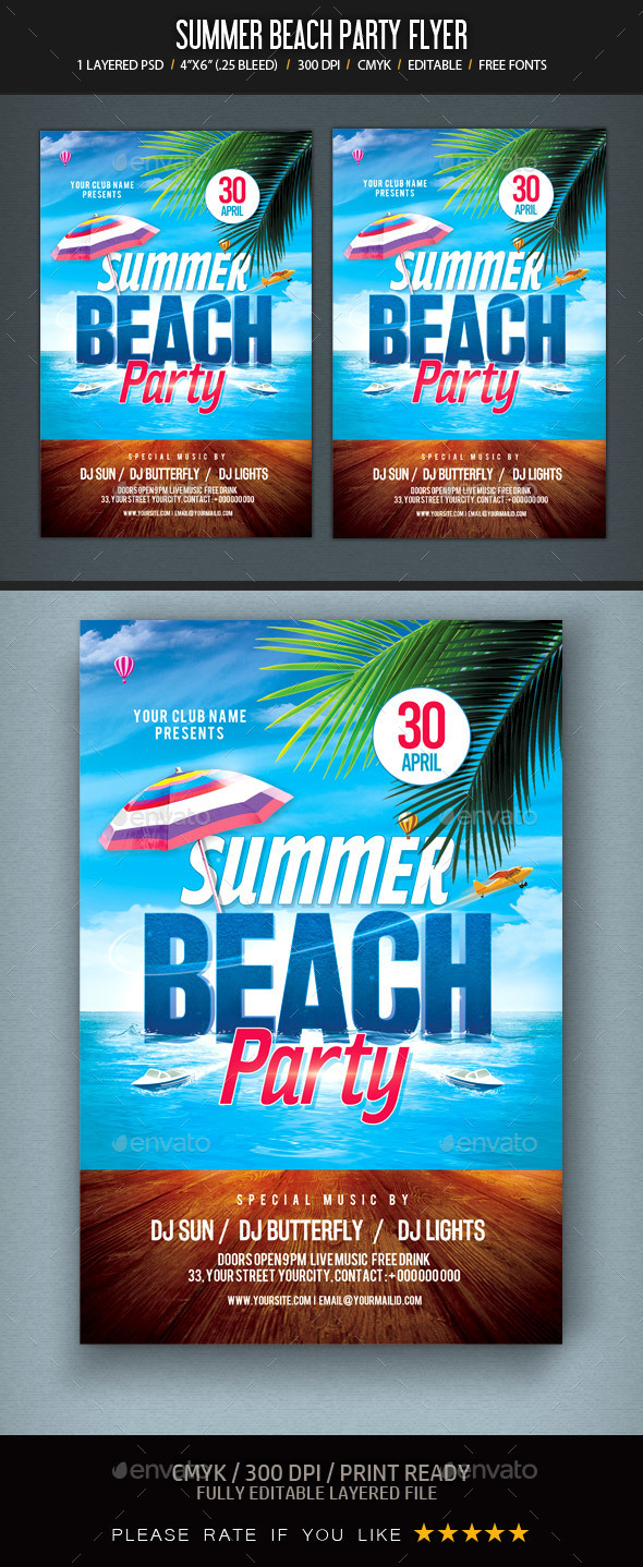 Summer Beach Party Flyer - Clubs & Parties Events