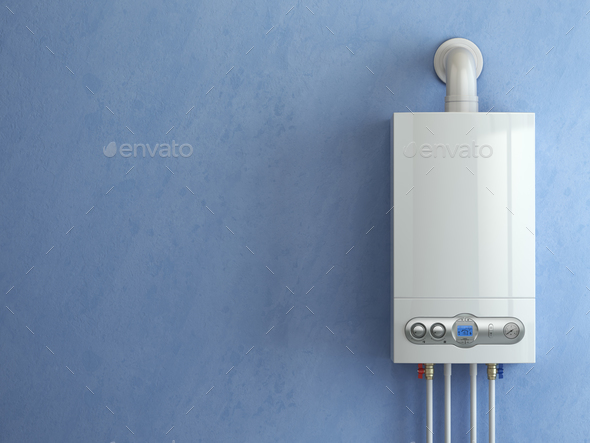 Gas boiler on blue background. Gas boiler home heating. - Stock Photo - Images
