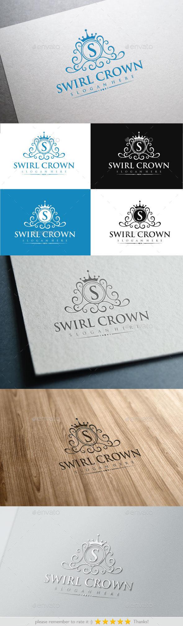 Swirl Crown - Crests Logo Templates