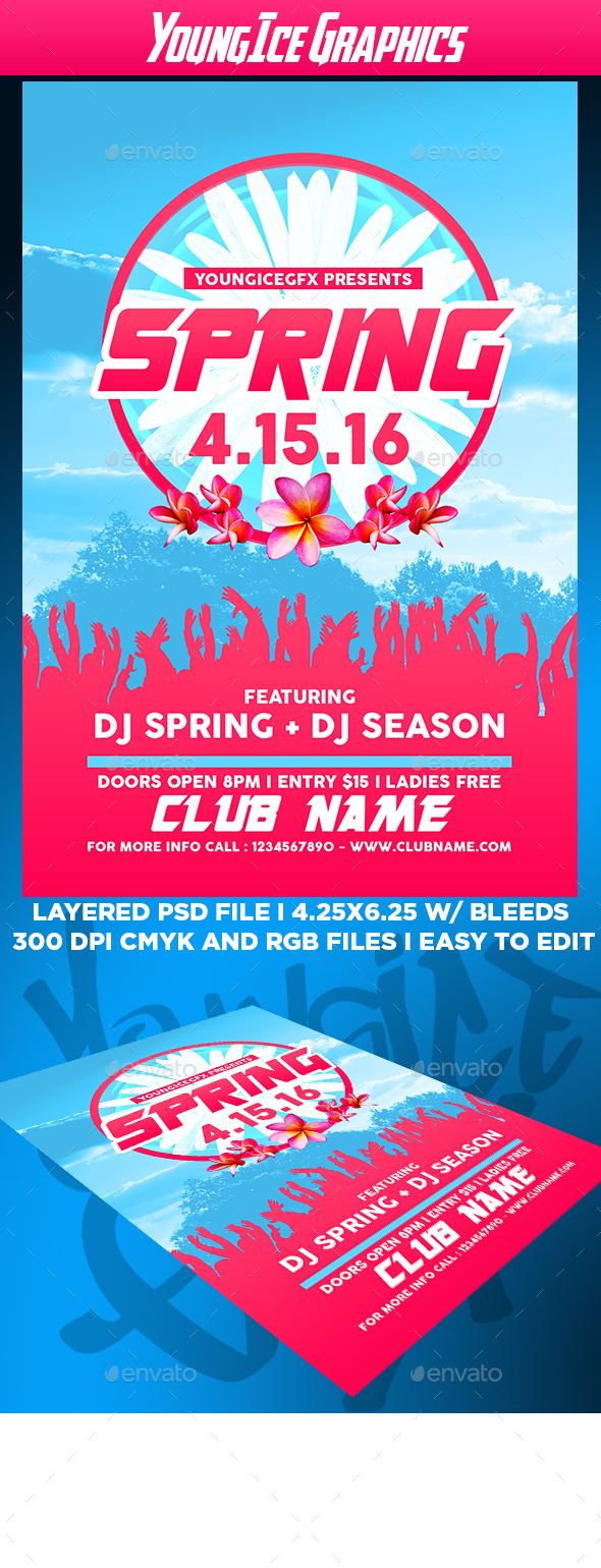 Spring Flyer Template - Clubs & Parties Events