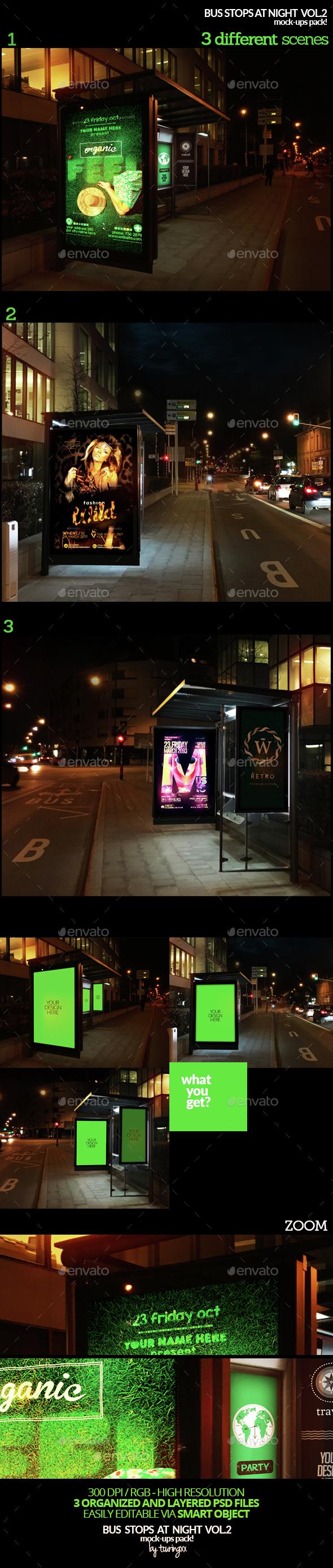 Bus Stops At Night Vol.2 Mock-Ups Pack - Product Mock-Ups Graphics