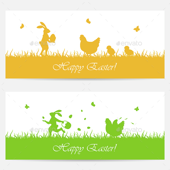 Banners with Easter Rabbits and Chickens - Animals Characters