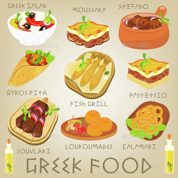 Greek Food Set - Food Objects