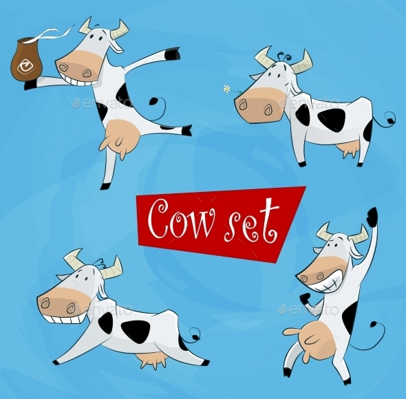 Cartoon Cow in Various Poses - Animals Characters