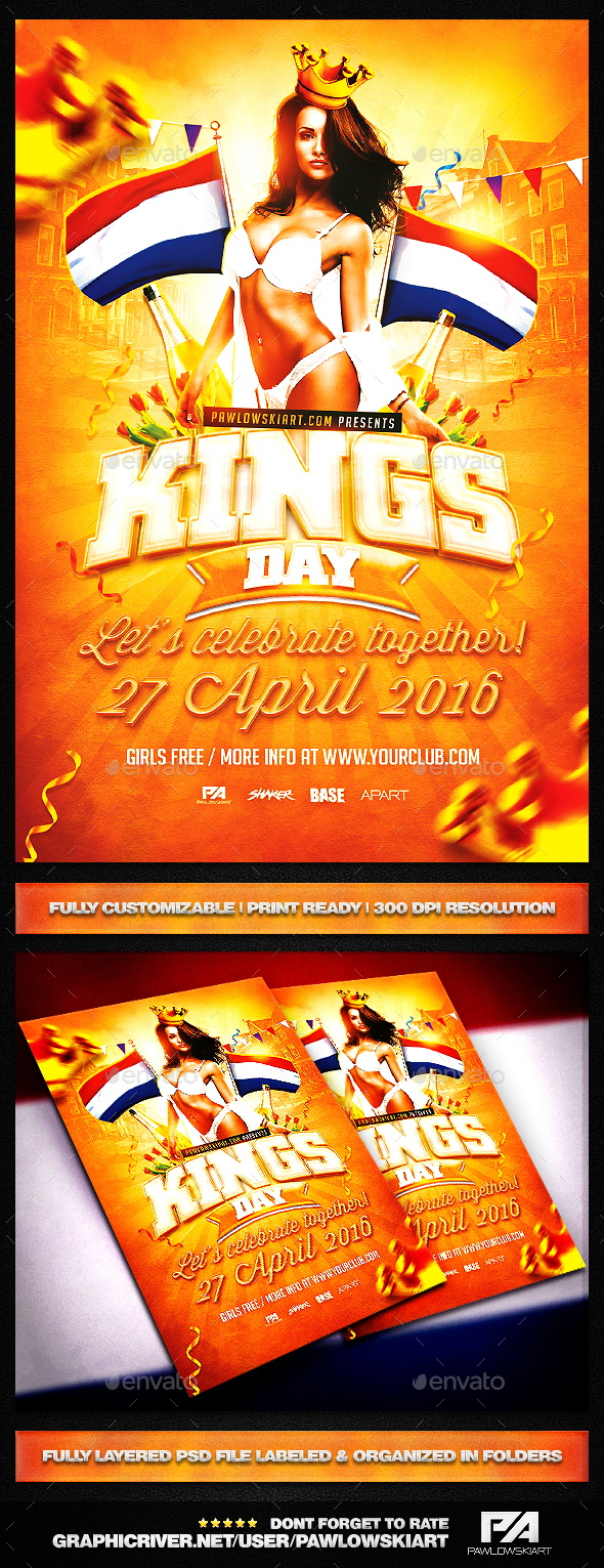 King's Day / KoningsDag v2 Party Flyer Template - Holidays Events
