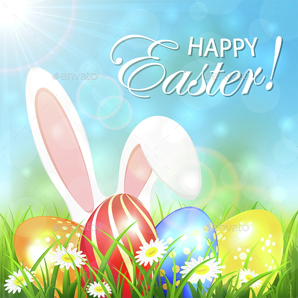 Spring Background with Colored Easter Eggs and Rabbit - Miscellaneous Seasons/Holidays