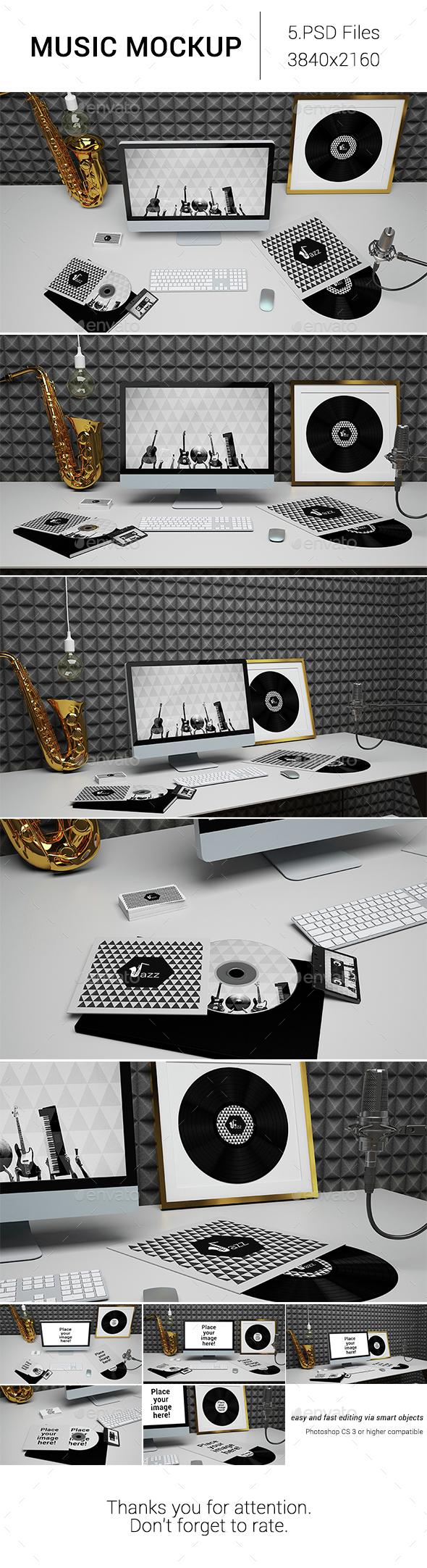 Music Mockup - Monitors Displays