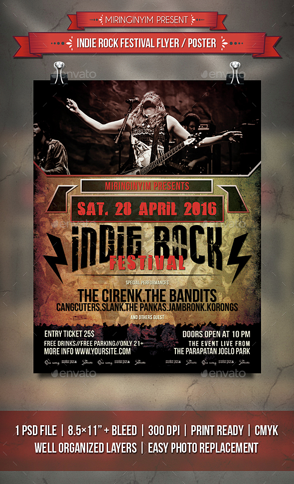 Indie Rock Festival Flyer / Poster - Events Flyers